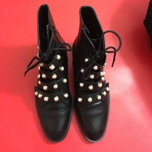 Zara pearl embellished boots