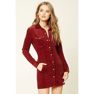 Corduroy Button Up Dress/Coat