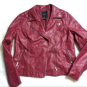 Forever 21 Red Maroon Leather Jacket