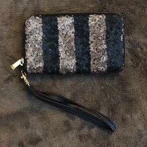 Copper/Black Sequin Wristlet
