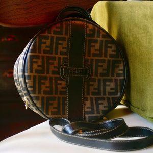 Vintage Fendi Brown Zucca Round Satchel