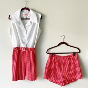 Vintage • white & red polka dot suit set
