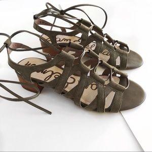 Sam Edelman Ardella Lace-Up Sandal in Moss Green