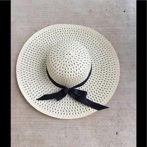 Tan Floppy Hat with Ribbon
