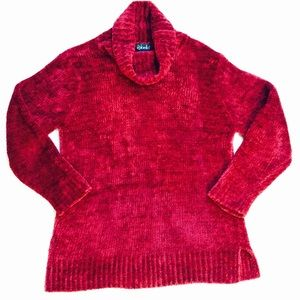 PRICE DROP! Vintage 80's sweater plush red velour