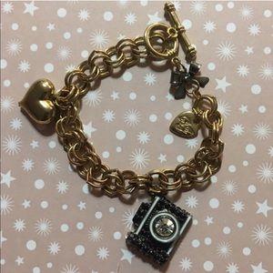 Betsey Johnson Gold & Black Camera Bracelet