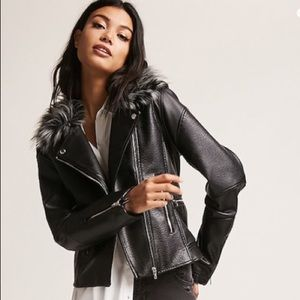 Members Only Faux Leather / Fur Moto Jacket XS