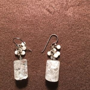 White and clear drop earrings