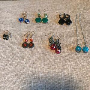 7 pair of multi color pierced earrings 😊