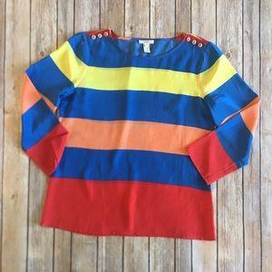 J. Crew Scoopneck Silk Blouse Colorblock Stripe 6
