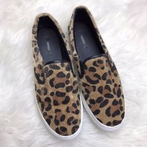Forever 21 Brown Leopard Faux Fur Slip On Sneakers