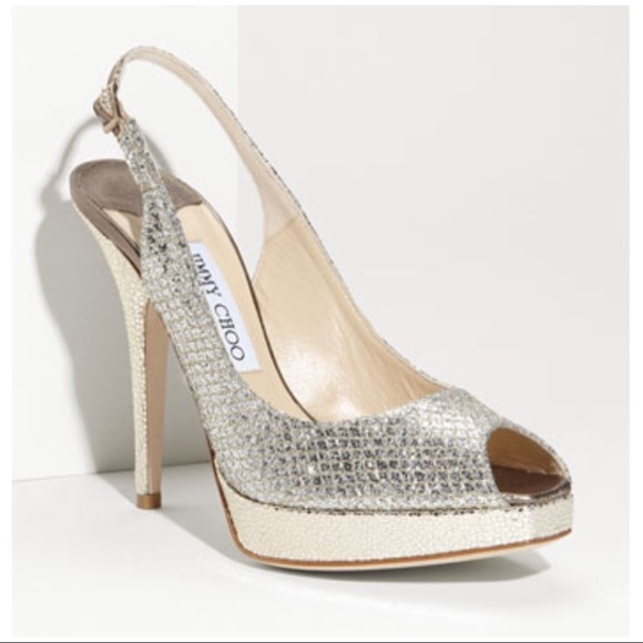 b5e60833962 Jimmy Choo Shoes - Jimmy Choo Clue Glitter Peep Toe Slingbacks 37 7