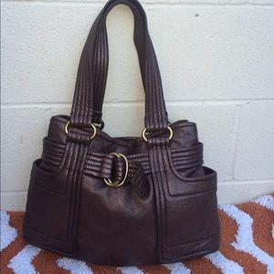 Kooba Aram Metallic Brown Handbag pebbled leather