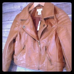 NWT Faux Leather Cropped Moto Jacket in Camel