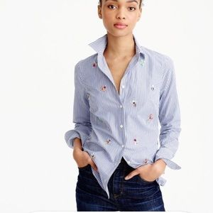 J. Crew Perfect Shirt With Bee Embellishment
