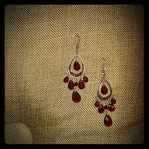 Sparkling red chandelier earrings