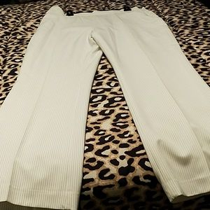 Cream Pinstripe Dress Pants