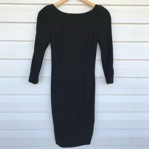 DVF Black Quarter Sleeve Bodycon Dress