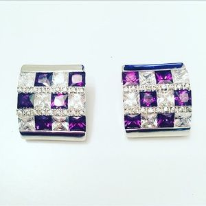 Checkered Violet Clamp Earrings