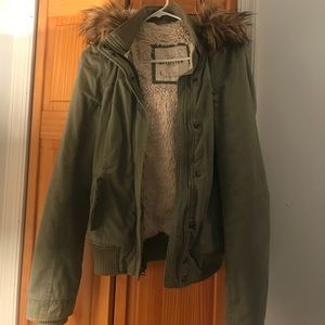 Hollister army fur hooded jacket
