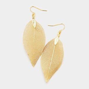 Natural Dipped Filigree Leaf Dangle Earrings..Gold
