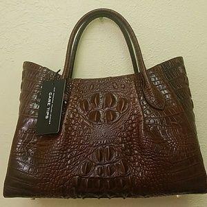 NWT Brown Croc Ebossed Genuine Leather Handbag