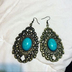 Gold and blue/green drop earrings