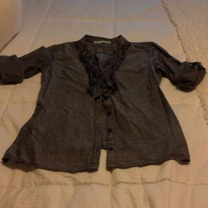 Blue Maurice's ruffle top size Small
