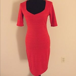 Red short sleeve fitted dress