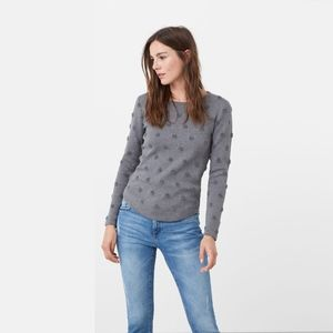 mango • embossed polka dot round hem sweater • m