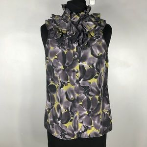 J crew ruffles sleeveless silk top size 0