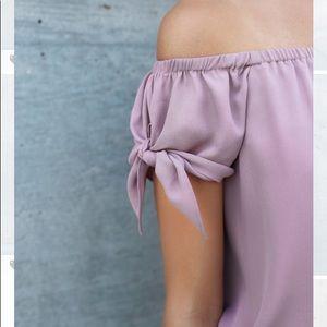 Rose bow sleeve off shoulder top