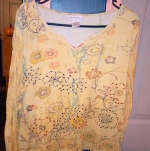 Yellow Multi Colored Blouse with Sheer Sleeves