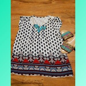 Tribal flowy top with lace back