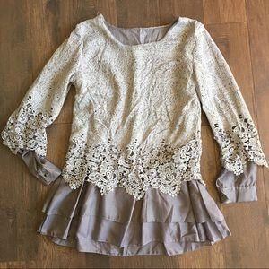 Gray Crochet Peplum Top