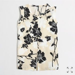 J Crew Factory Printed Pleated-Front Crepe Top 2P