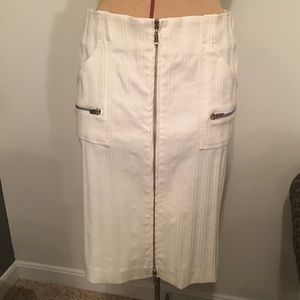 Bebe white pencil skirt with zippers size 8