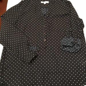 Love tree happens navy/white polka dot blouse