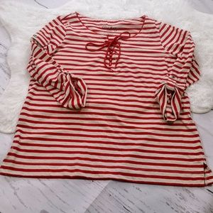 Coral Bay Striped Lace Up Blouse #113
