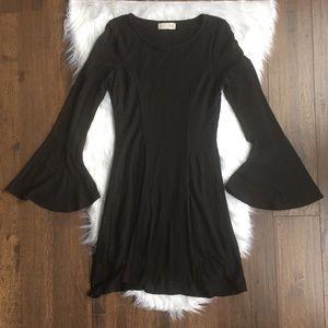 Altar'd State Black Bell Sleeve Dress