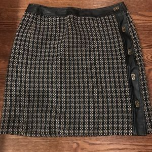 Talbots twill skirt with faux leather trim