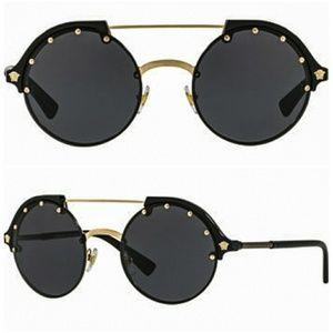 VERSACE Medusa Gold and Black Sunglasses