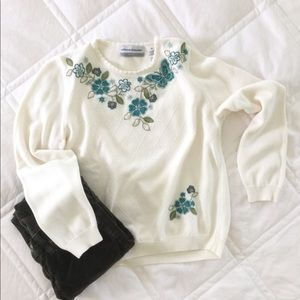 Alfred Dunner Embroidered Floral Sweater