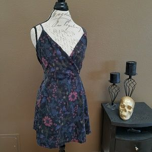 Floral Plunge Neckline Mini Dress