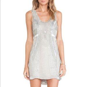 Beautiful beaded silver Parker dress. NWT