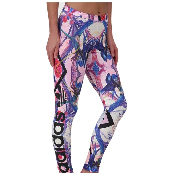 77bac656a694bb adidas Pants | Optic Bloom Tropical Floral Bird Leggings | Poshmark