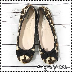 Prada leopard pattern cow fur ballet flats