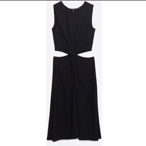 ZARA EUC Cut Out A-Line Twisted Dress