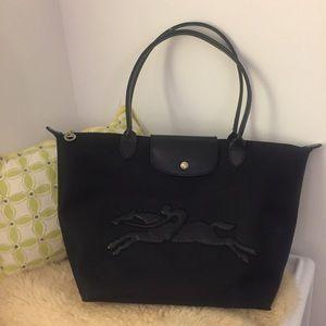 Longchamp black leather logo shopping tote