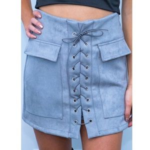 New Showpo Lace Up Suede Skirt NWT